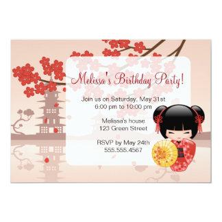 Festa de aniversário vermelha japonesa da boneca convite 12.7 x 17.78cm