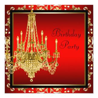 Festa de aniversário vermelha preta do candelabro convites personalizado