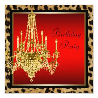 Festa de aniversário vermelha preta do candelabro convite quadrado 13.35 x 13.35cm