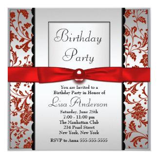 Festa de aniversário vermelha & preta do damasco convites personalizados