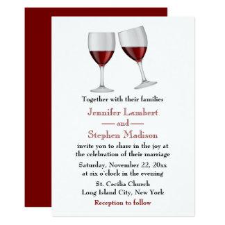 Festa de casamento vermelha dos vidros de vinho de convite 12.7 x 17.78cm