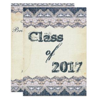 Festa de formatura 2017 de papel idosa do laço da convite 12.7 x 17.78cm