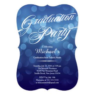 Festa de formatura azul moderna de Bokeh da Convite 12.7 X 17.78cm