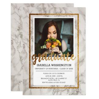 Festa de formatura da foto da tipografia | do ouro convite 12.7 x 17.78cm