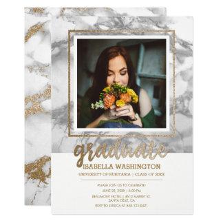 Festa de formatura da foto do roteiro do mármore convite 12.7 x 17.78cm