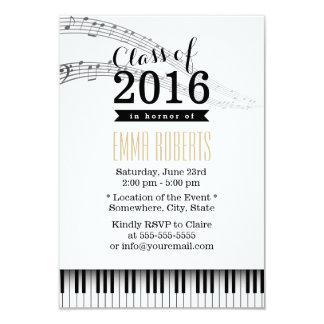 Festa de formatura do Musical das chaves do piano Convite 8.89 X 12.7cm