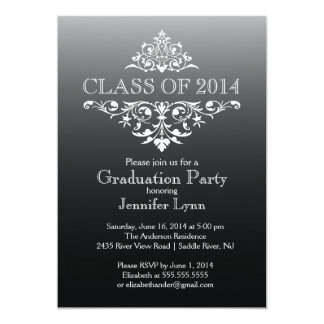Festa de formatura elegante preta formal do convite 12.7 x 17.78cm