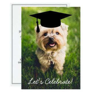 Festa de formatura engraçada da foto do cão - use convite 12.7 x 17.78cm