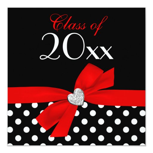 Festa de formatura preta vermelha do coração do convite quadrado 13.35 x 13.35cm