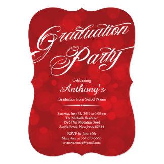 Festa de formatura vermelha de Bokeh da tipografia Convite 12.7 X 17.78cm