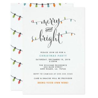 Festa de Natal alegre e brilhante Convite 12.7 X 17.78cm