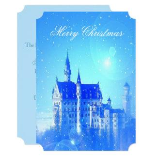 Festa de Natal azul dos flocos de neve do castelo Convite 12.7 X 17.78cm