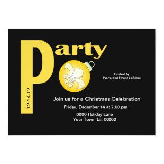 Festa de Natal branca da flor de lis do ouro preto Convite 12.7 X 17.78cm