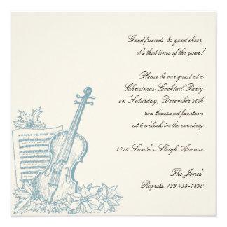 Festa de Natal branca e azul do inverno da música Convite Quadrado 13.35 X 13.35cm