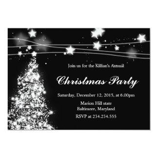 Festa de Natal brilhante das estrelas da árvore de Convite 12.7 X 17.78cm