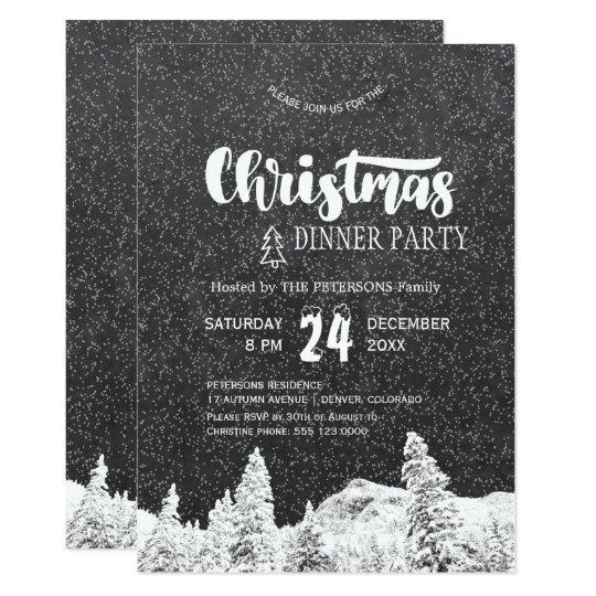 Festa de Natal cinzenta escura branca do quadro Convite 12.7 X 17.78cm