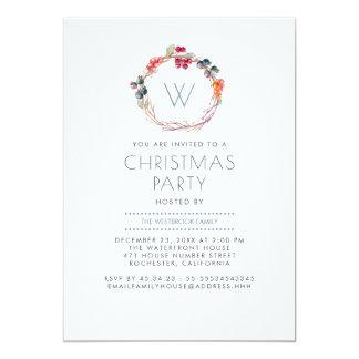 Festa de Natal da família da grinalda do azevinho Convite 12.7 X 17.78cm