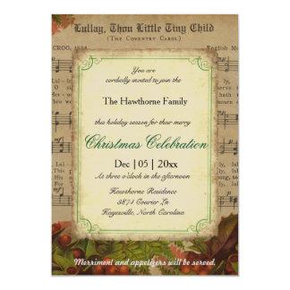 Festa de Natal da folha de música da canção de Convite 12.7 X 17.78cm
