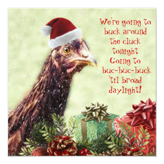Festa de Natal da galinha do papai noel da Convite Quadrado 13.35 X 13.35cm