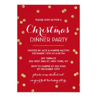 Festa de Natal dos confetes do ouro (cor feita sob Convite 12.7 X 17.78cm