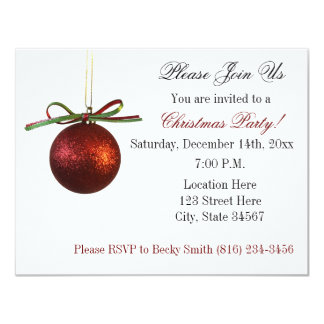 Festa de Natal elegante vermelha dos enfeites de Convite 10.79 X 13.97cm