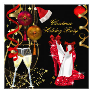 Festa de Natal incorporada Champagne do feriado Convite Personalizado