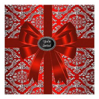 Festa de Natal incorporada do damasco vermelho de  Convite
