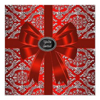 Festa de Natal incorporada do damasco vermelho de Convite Quadrado 13.35 X 13.35cm