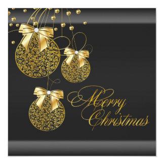 Festa de Natal preta do ouro Convite Quadrado 13.35 X 13.35cm