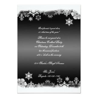 Festa de Natal preto e branco do floco de neve Convite 12.7 X 17.78cm