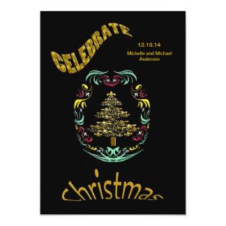 Festa de Natal retro da flor de lis (preto) Convite 12.7 X 17.78cm