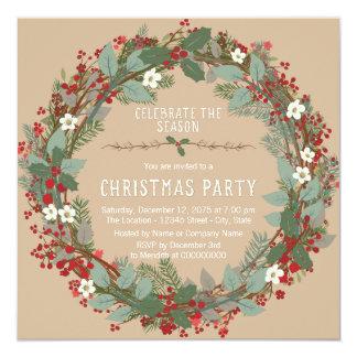 Festa de Natal rústica da grinalda Convite Quadrado 13.35 X 13.35cm
