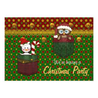 Festa de Natal rústica do pinguim e da coruja - Convite