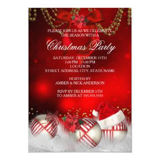 Festa de Natal vermelha do chapéu do papai noel Convite 12.7 X 17.78cm