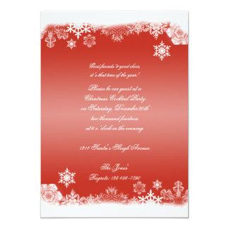 Festa de Natal vermelha e branca do floco de neve Convites Personalizados
