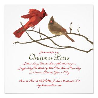 Festa de Natal vermelha festiva dos cardeais Convite Personalizados