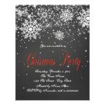 Festa de Natal vermelha rústica do quadro do floco Convite Personalizado