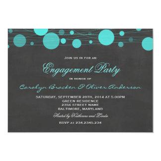 Festa de noivado azul da lanterna do quadro do convite 12.7 x 17.78cm