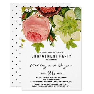 Festa de noivado botânica do vintage das flores convite 12.7 x 17.78cm