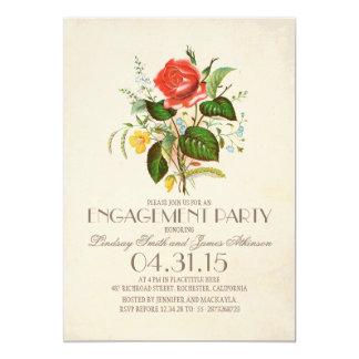 festa de noivado clássica da flor da aguarela do convite 12.7 x 17.78cm
