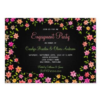 Festa de noivado colorida da grinalda da flor do convite 12.7 x 17.78cm