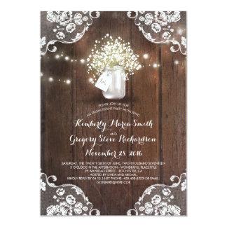 Festa de noivado da madeira do celeiro do frasco convite 12.7 x 17.78cm