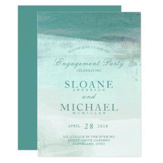 Festa de noivado da praia da aguarela de Ombre de Convite 12.7 X 17.78cm