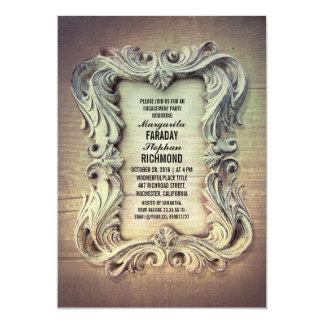 festa de noivado de madeira rústica do quadro do convite 12.7 x 17.78cm