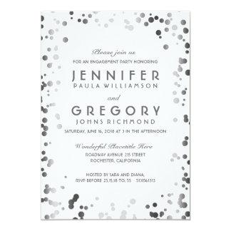 Festa de noivado de prata e branca do vintage dos convite 12.7 x 17.78cm
