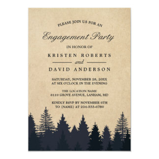 Festa de noivado do casamento da floresta do convite 12.7 x 17.78cm
