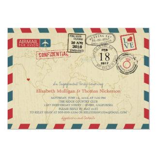 Festa de noivado do correio aéreo do viajante de convite 12.7 x 17.78cm