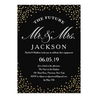 Festa de noivado do futuro   dos confetes do convite 12.7 x 17.78cm