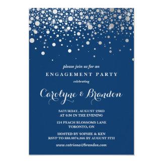 Festa de noivado do marinho dos confetes | da convite 12.7 x 17.78cm