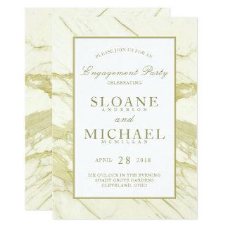 Festa de noivado elegante de mármore do ouro | de convite 12.7 x 17.78cm